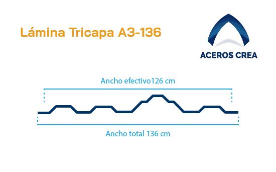 Perfil acanalado A3-136 Lámina tricapa